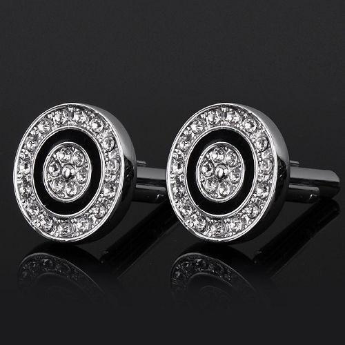 Manžetové knoflíčky kruhový terč s kamínky