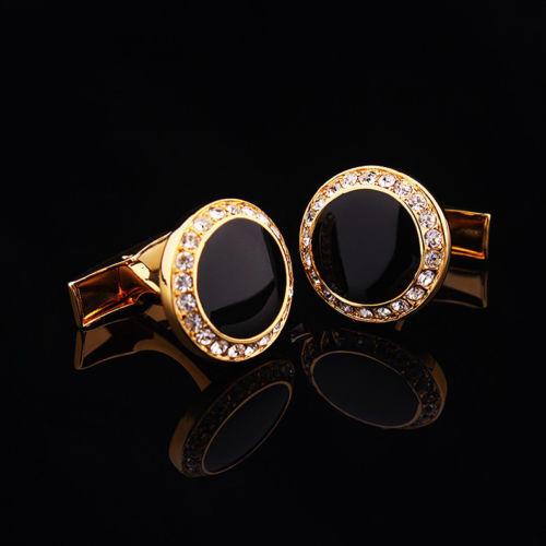 Manžetové knoflíčky kulatý černý krystal s kamínky
