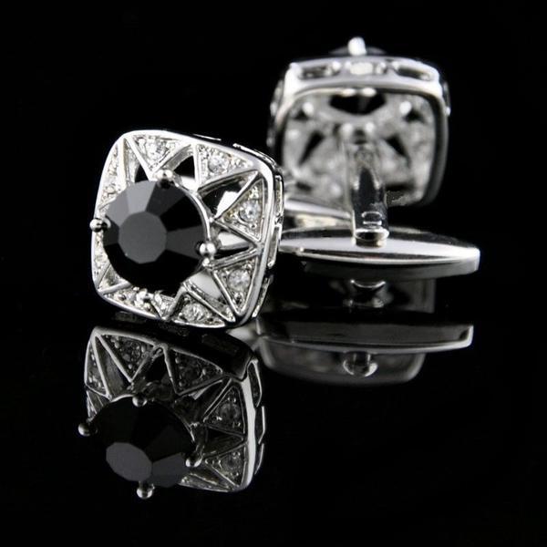 Manžetové knoflíčky černý kámen