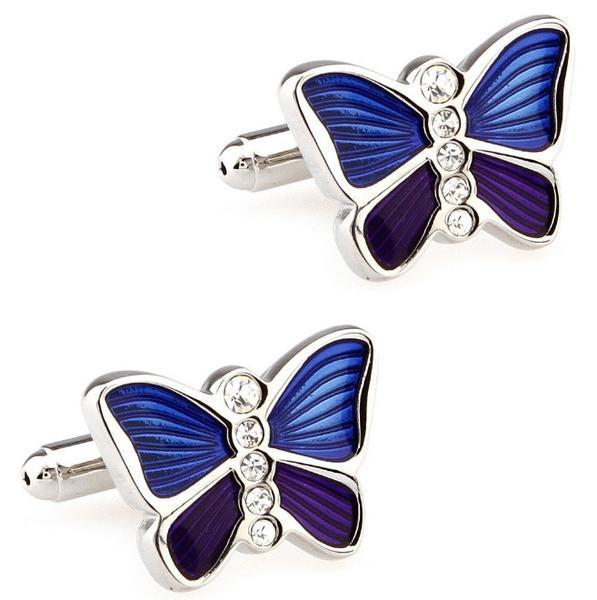 Manžetové knoflíčky Motýl modrofialový