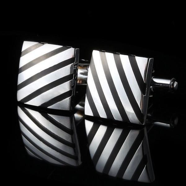 Manžetové knoflíčky čtverec s černým pruhe
