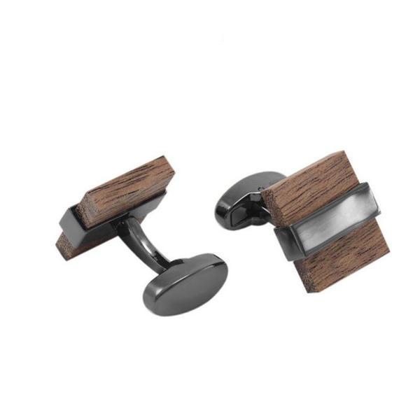 Manžetové knoflíčky dřevo čtvereček