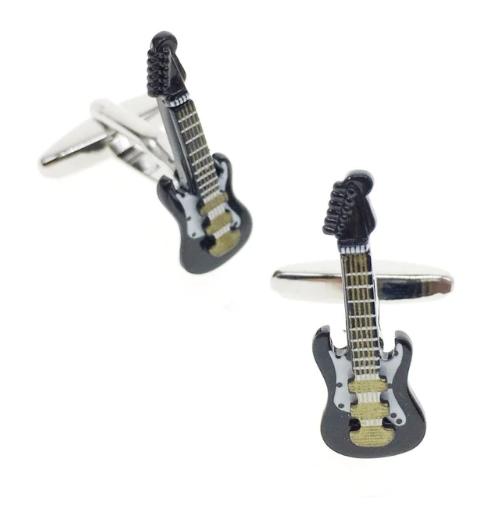 Manžetové knoflíčky elektrická kytara černá