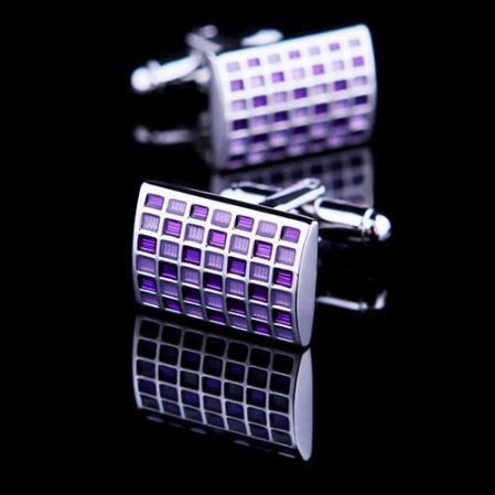 Manžetové knoflíčky Purpurová šachovnice