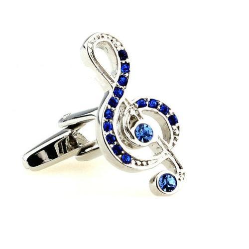 Manžetové knoflíčky houslový klíč modré kamínky