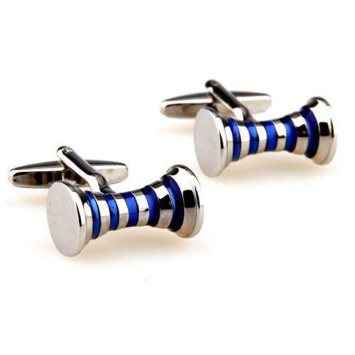 Manžetové knoflíčky modré proužky