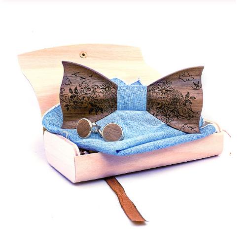 Dřevěné manžetové knoflíčky s motýlkem Amfora