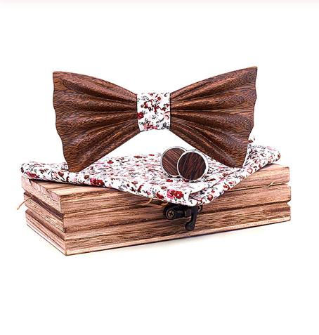 Dřevěné manžetové knoflíčky s motýlkem Tarent