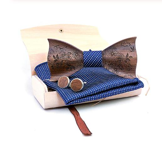 Dřevěné manžetové knoflíčky s motýlkem Norfolg